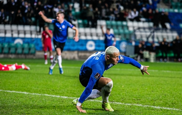 Erik Sorga on just viinud Eesti 1:0 juhtima. Foto: Brit Maria Tael