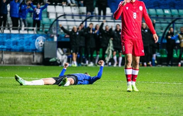 Käed taeva poole - Sergei Zenjov vormistas Eesti 2:0 võidu. Foto: Brit Maria Tael