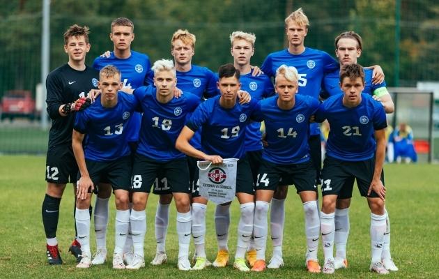 Eesti U19 koondis enne septembris kodus peetud maavõistlust Gruusia eakaaslastega. Foto: Catherine Kõrtsmik