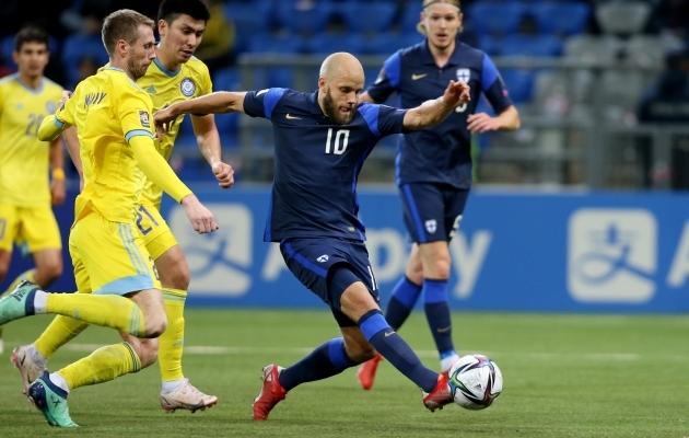 Teemu Pukki tõusis kahe Kasahstanis löödud väravaga Soome koondise läbi aegade resultatiivseimaks mängijaks. Foto: Scanpix / Reuters / Pavel Mikheyev
